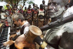 Ethiopia. Omo Valley. Kara tribe. Marc Vella. Piano. Music. Warrior. Body painting.