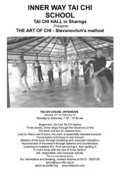 TAI CHI CHUAN INTENSIVE Jan 21st to Feb 9th