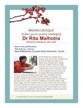 Brown Critique invites you to a Poetry reading by Dr. Rita Malhotra