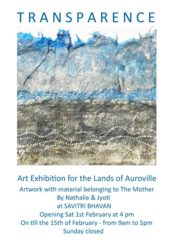 Art exhibition for the lands of Auroville – By Nathalie and Jyoti